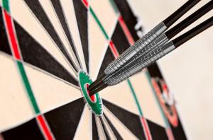 Dart in bullseye on the target